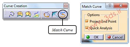 ابزار Match Curve در محیط FreeStyle نرمافزار کتیا