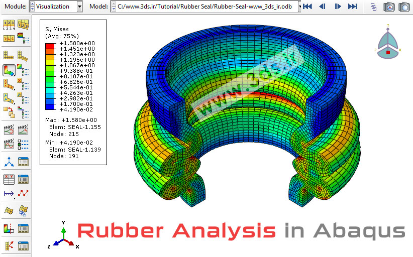 آموزش مدلسازی و تحلیل قطعه لاستیکی در آباکوس