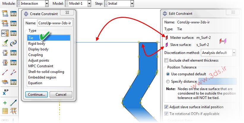 تنظیمات قید Tie در آباکوس جهت جلوگیری از لغزش