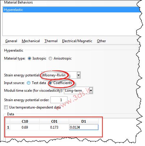 تعریف خواص مکانیکی لاستیک در آباکوس