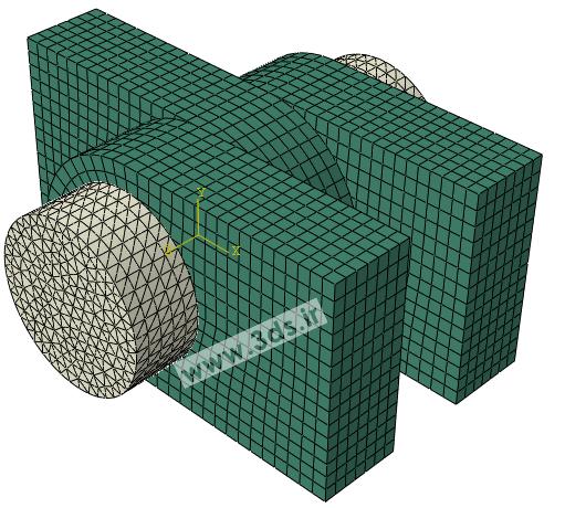 شبکه اجزا محدود در تحلیل پین و قلاب توسط آباکوس