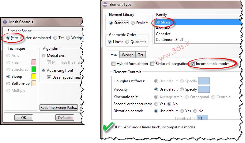تنظیمات Mesh Controls و Element Type در آباکوس