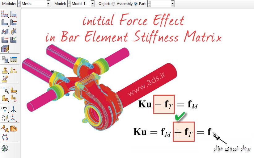 تأثیر نیروهای اولیه در ماتریس سختی میله