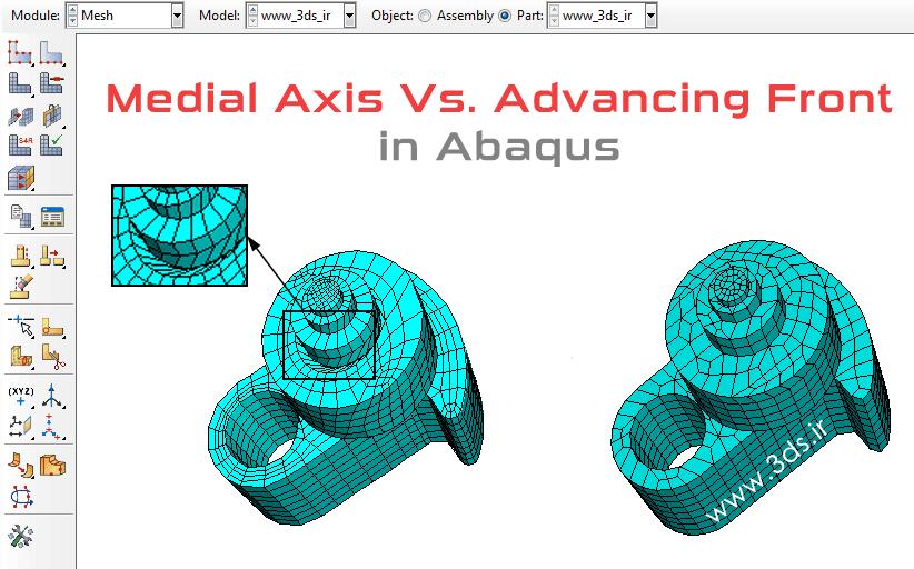 مقایسه الگوریتمهای Medial Axis و Advancing Front در مشزنی آباکوس