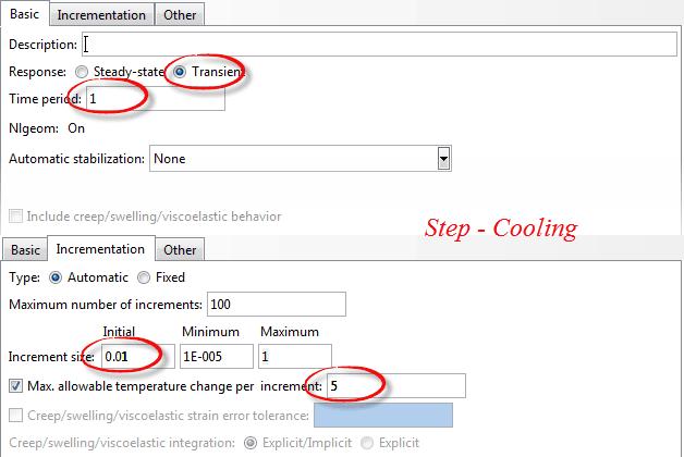 تنظیمات حلگر Temp-Displacement در آباکوس