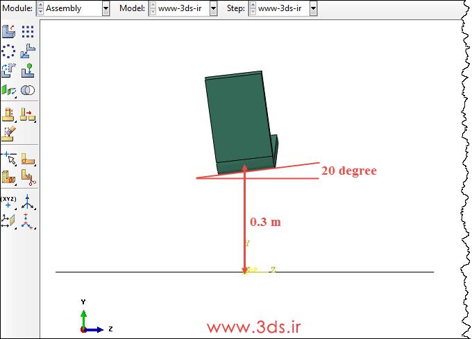 مونتاژ اجسام در تحلیل سقوط آزاد جسم توسط Abaqus