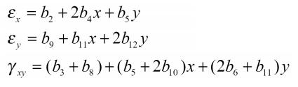 کرنش المان مثلثی مرتبه دوم