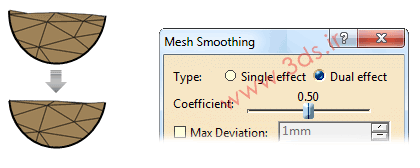 ابزار Mesh Smoothing جهت ویرایش مش در محیط ابر نقاط کتیا