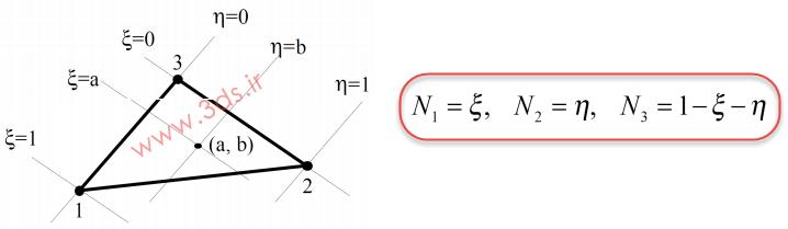 توابع شکل المان مثلثی خطی