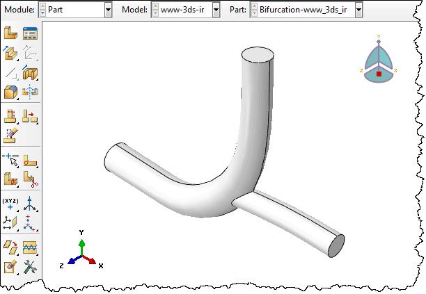 مدل هندسی رگ در تحلیل CFD جریان خون در مجرای دوراهی رگ توسط آباکوس