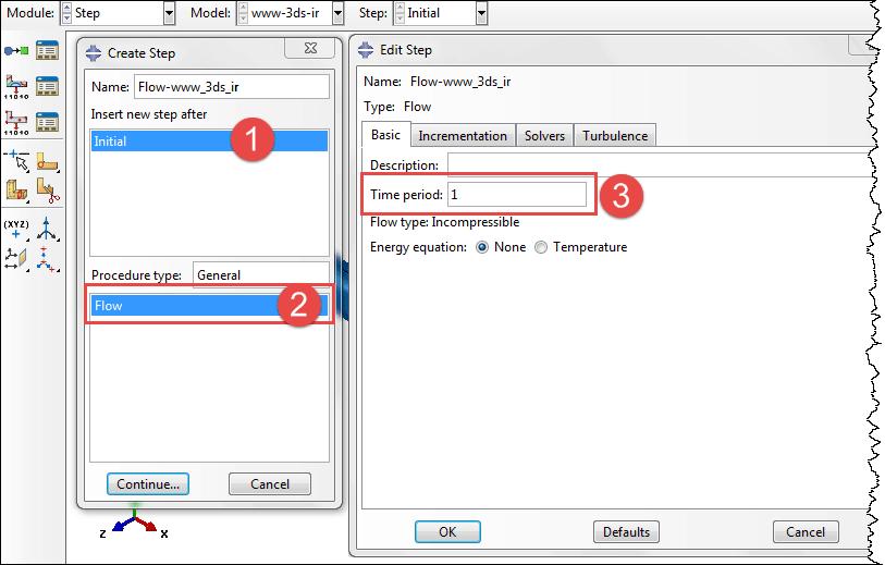 تنظیمات حلگر Flow Step در آباکوس