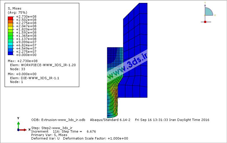 کانتور تنش قطعه استوانهای در حین فرآیند اکستروژن توسط آباکوس