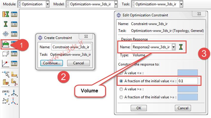 تعریف قیود طراحی جهت بهینهسازی توسط ماژول Optimization آباکوس
