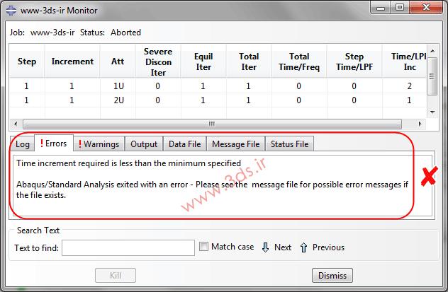 خطای Time increment required is less than minimum specified در آباکوس