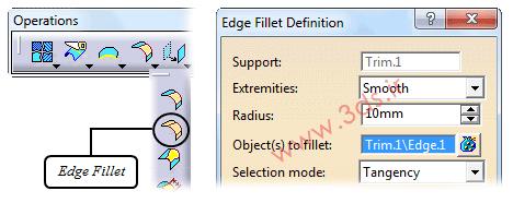ابزار Edge Fillets در محیط Generative Shape Design نرمافزار کتیا