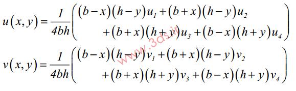 معادلات تغییر مکان در گرههای المان مربعی خطی