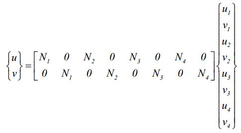 معادلات تغییر مکان در المان مربعی خطی