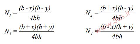 تابع شکل المان مربعی خطی