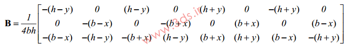 ماتریس کرنش – جابجایی المان مربعی خطی