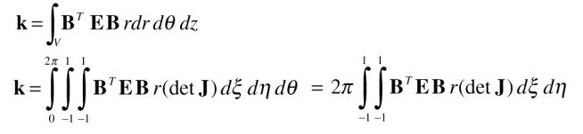 ماتریس سختی المان تقارن محوری