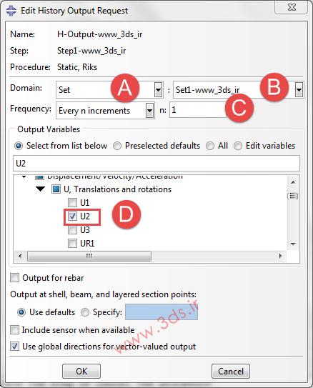 تنظیمات History Output در آباکوس