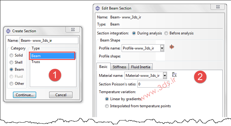 تعریف سطح مقطع Beam در آباکوس