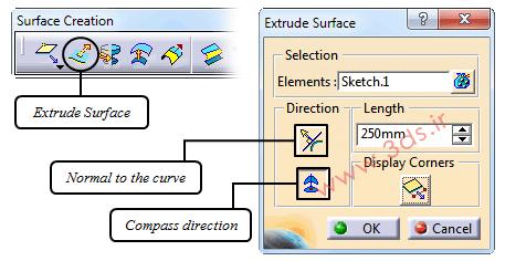 ابزار Extrusion محیط FreeStyle نرمافزار کتیا