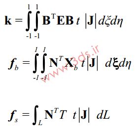 ماتریس سختی المان isoparametric