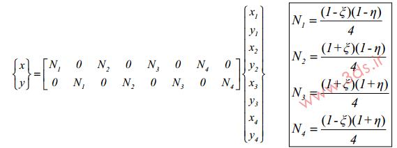 مختصات المان مربعی خطی در دستگاه مختصات طبیعی