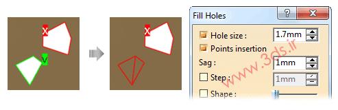 حذف حفرههای موجود در مش با ابزار Fill Holes در محیط  ابر نقاط نرمافزار کتیا