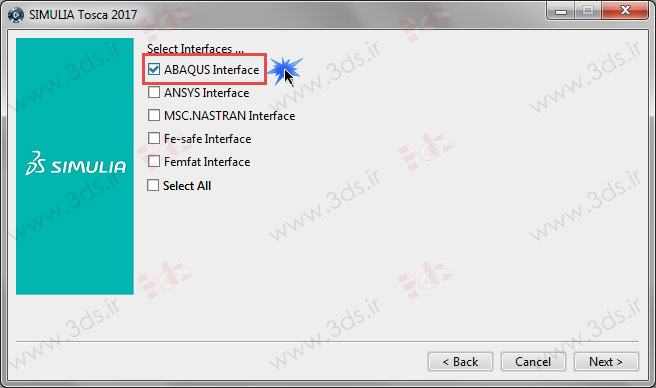 ABAQUS Interface: نصب توسکا