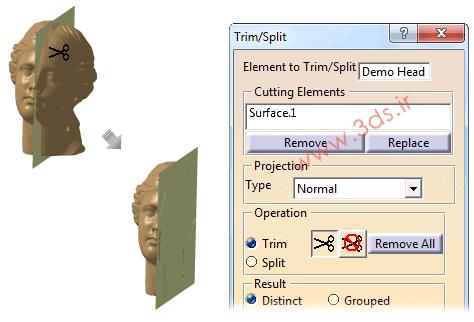 ابزار Trim/Split در محیط ابر و نقطه نرمافزار کتیا