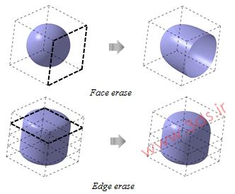 ابزار Erasing کتیا برای حذف یک لبه یا وجه