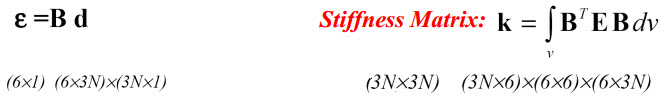 بردار کرنش و ماتریس سختی (الاستیسیته سهبعدی در اجزا محدود)