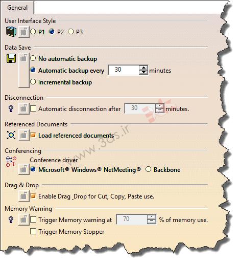 سربرگ General در تنظیمات Options نرمافزار کتیا
