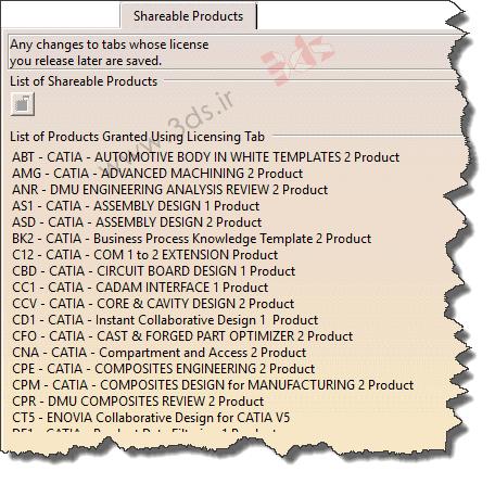 سربرگ Shareable Products در تنظیمات Options نرمافزار کتیا
