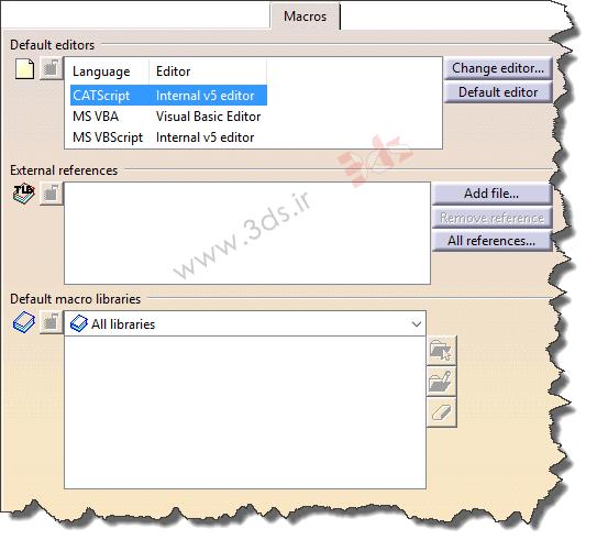 سربرگ Macros در تنظیمات Options نرمافزار کتیا