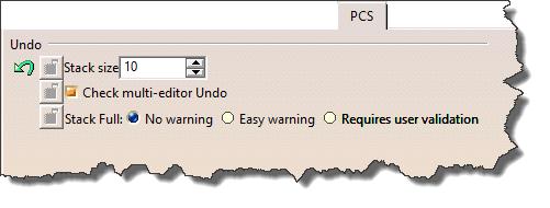سربرگ PCS در تنظیمات Options نرمافزار کتیا