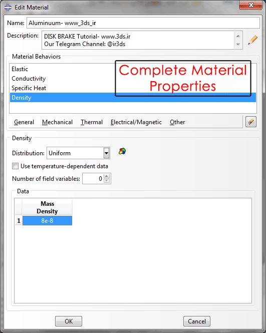تعریف خواص مکانیکی در ماژول Property