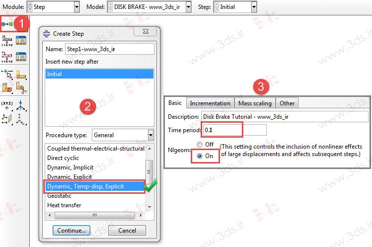 تعریف حلگر Dynamic, Temo-Disp, Explicit آباکوس