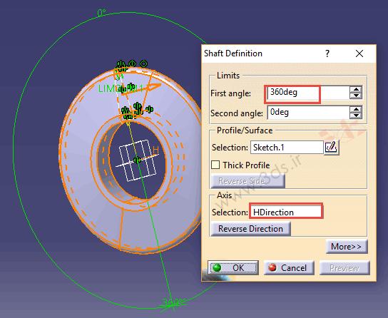 ابزار Shaft از جعبهابزار Sketch-Based Features کتیا