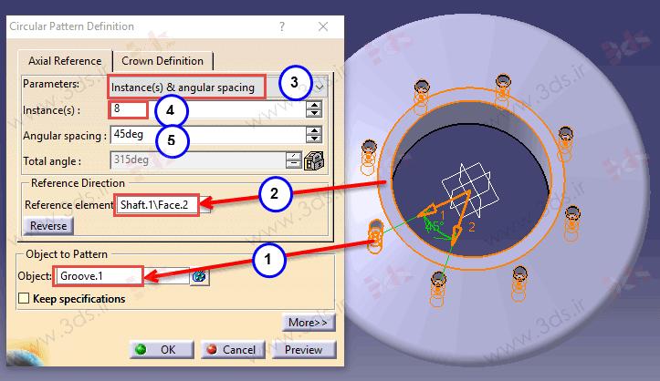 نحوه استفاده از ابزار Circular Pattern کتیا