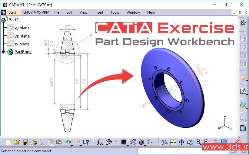 تمرین مدلسازی در محیط Part Design کتیا