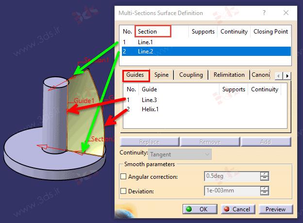 آموزش ابزار Multi-Sections Surface در محیط Wireframe and Surface Design نرمافزار کتیا