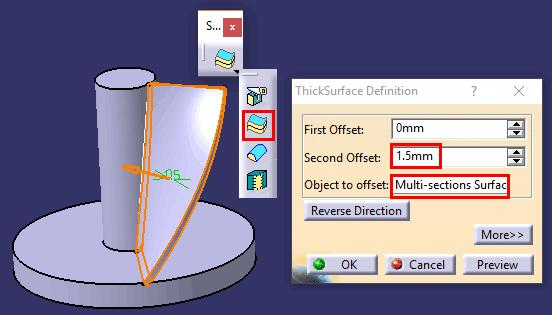 نحوه استفاده از ابزار Thick Surface در محیط Part Design نرمافزار کتیا