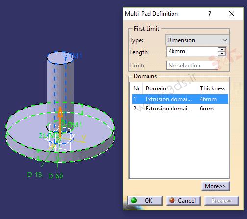 آموزش ابزار Multi-Pad در محیط Part Design نرمافزار کتیا