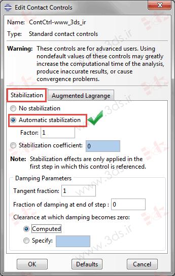 تنظیمات Contact Contrlos و Stabilization در آباکوس