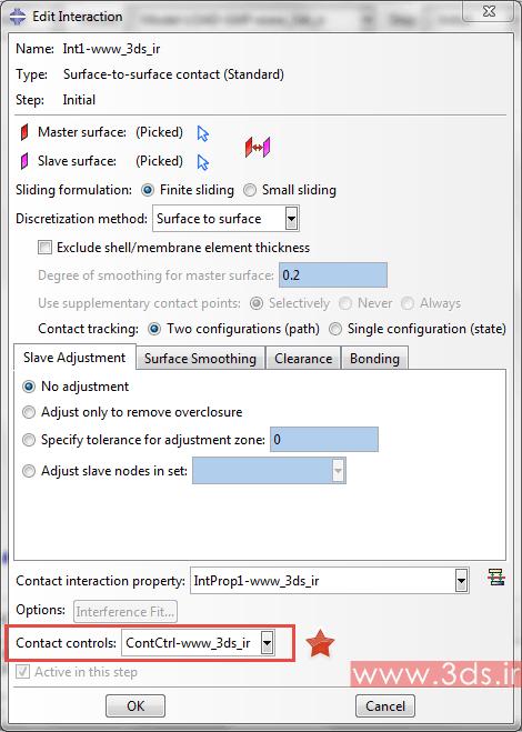 تنظیمات تماس Surface-to-Surface آباکوس