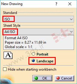 تغییر استاندارد کاغذ نقشهکشی در کتیا