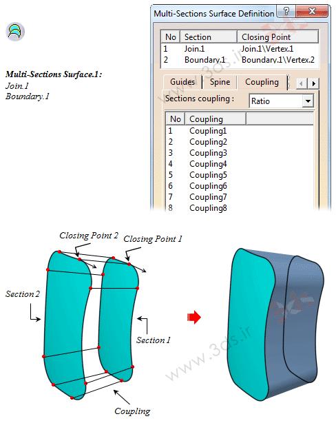 آموزش ابزار Multi-Sections Surface در محیط Generative Shape Design نرمافزار کتیا